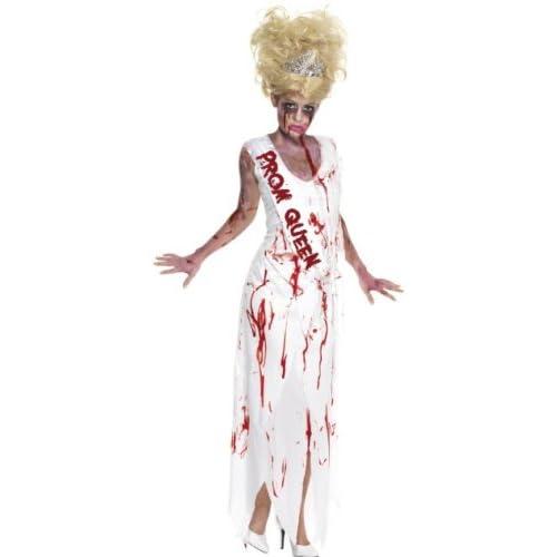 SMIFFYS Smiffy's, Bianco, Costume High School Horror Reginetta del Ballo, comprende Abito con Fasc Donna, M-EU Dimensione 40-42, 32950M