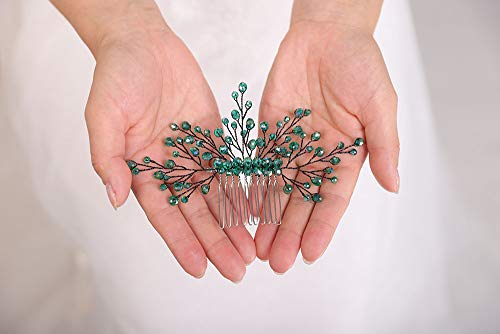 Deniferymakeup Grüner Haarkamm, Smaragdgrün, Kopfschmuck, Brautjungfer, Geschenk, formeller Haarschmuck, grüner Hochzeits-Haarkamm, Böhmischer Brautschmuck