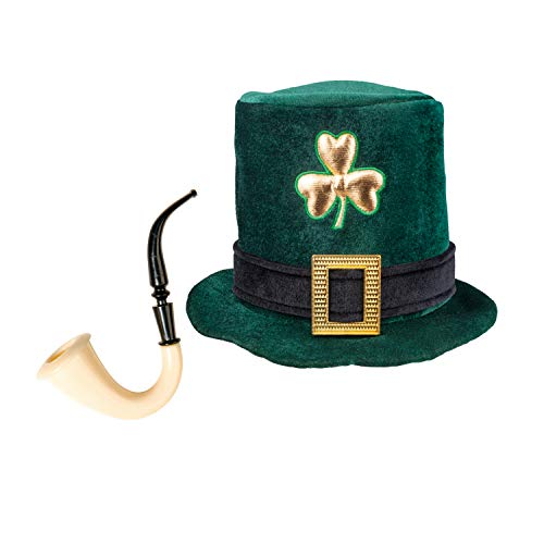 com-four® Leprechaun, Kobold Kostüme zum St. Patricks Day - Outfits und Accessoires für das grüne, irische Fest - Für Fasching, Fastnacht, Karneval, Parade, Motto-Party, Irish Pub (02-teilig - Set08)