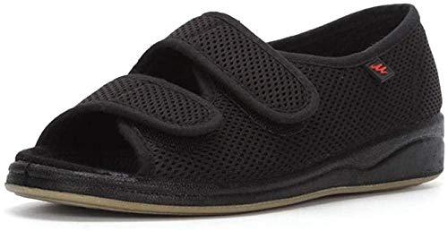 B/H Calzado OrtopéDico Ajustable para Artritis,Zapatos de Tela con Velcro Ajustable, Zapatos deformados con Pulgares-Negro a_40,Zapatilla DiabéTica Sin Cordones para Mujer