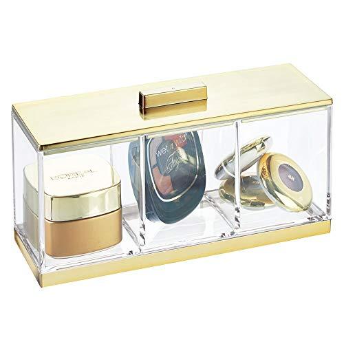 mDesign Piccolo organizer bagno con coperchio – Valigetta trucchi elegante con 3 scomparti – Portaoggetti per bagno per rossetti, smalti, spugnette ecc. – trasparente e ottone