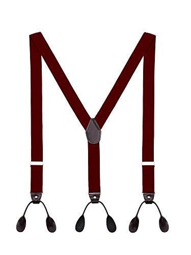 DEBAIJIA Bretelle Uomo Forma a Y Regolabili Elastici Molto Forti Con 6 Tasti Larghezza 3,5 cm in Diversi Colori Bordeaux