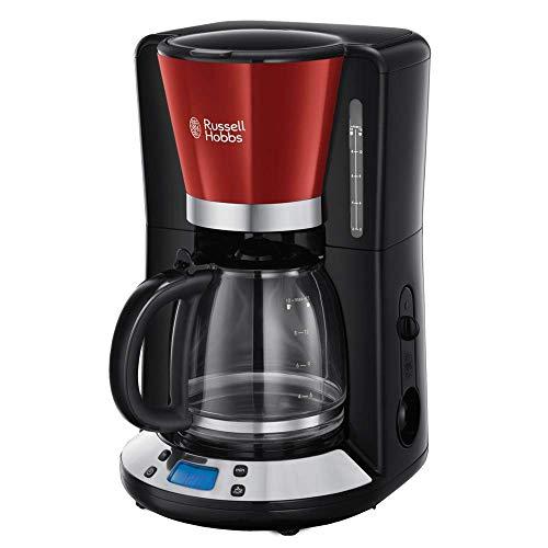 Russell Hobbs Colours Plus - Cafetera de Goteo (Jarra Cafetera para 15 Tazas, 1000 W, Negro y Rojo) - ref. 24031-56