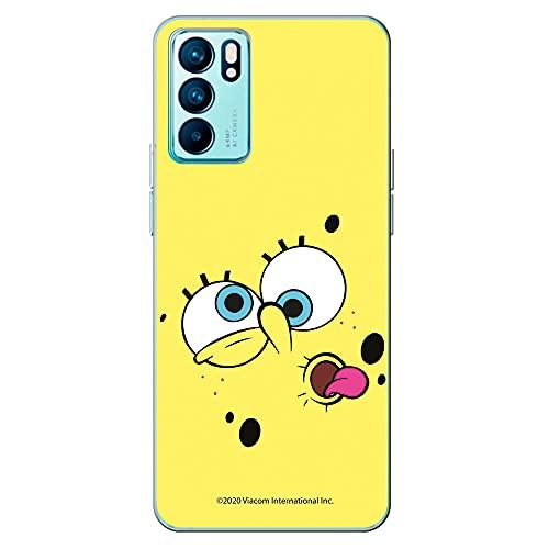Movilshop Funda para [ OPPO Reno 6 Pro 5G ] Bob Esponja Oficial [Cara Fondo Amarillo] Nickelodeon de Silicona Flexible Transparente Carcasa Case Cover Gel para Smartphone.