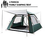 N/Y Pop-up-Campingzelt, automatisches Strandzelt im Freien, große Belüftung Wasserdichtes Familienkabinenzelt für 3/4/5 Personen, sofortige Einrichtung mit abnehmbarem Sonnenschirm Rainfly