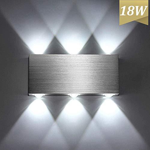 Lightess 18W LED Wandleuchte Innen Modern Up Down Wandlampe aus Aluminium für Wohnzimmer Schlafzimmer Treppenhaus Flur, Kaltweiß