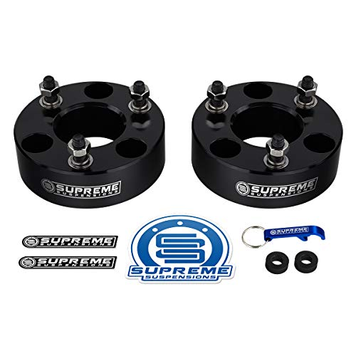"Supreme Suspensions - Front Leveling Kit for Dodge: 2006-2020 Ram 1500 4WD and 2005-2011 Dakota 2WD 2"" Front Lift Billet Aluminum Strut Spacers (Black)"