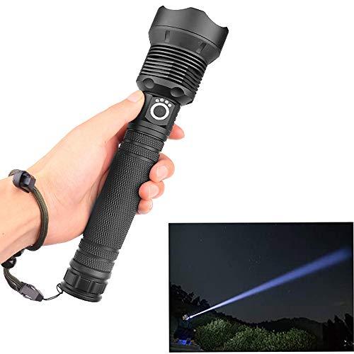 asfasfd Linterna Ultravision Pro, XHP50 / XHP70 Luz de antorcha con Zoom Recargable, Impermeable, súper Brillante, de Alto lúmenes, Adecuada (XHP70, con 2 Pilas 26650)