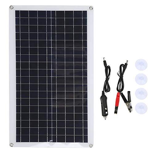 DAUERHAFT Panel Solar policristalino Cargador Solar para Exteriores Seguro Resistente al Desgaste de 40 W con Material Pet para vehículos turísticos/techos