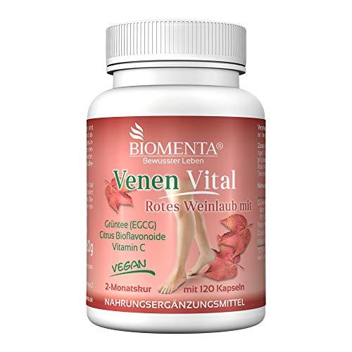 BIOMENTA Venen Vital – vereint rotes Weinlaub + Citrus Bioflavonoide + Grüntee Extrakt + Vitamin C – vegan - 120 Venen Kapseln – 2 Monatskur