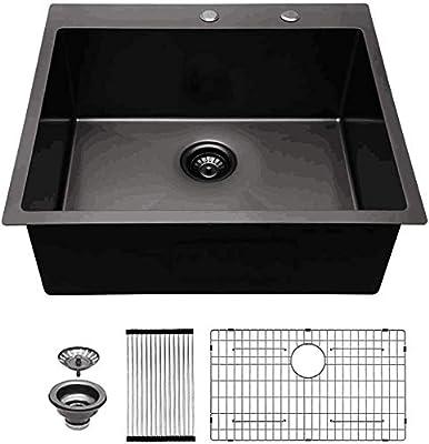 Mocoloo 25 Inch Drop In Kitchen Sink Matte Black Gunmetal 16 Gauge Stainless Granite Composite Steel Kitchen Sink Topmount Bar Prep Sink Single Bowl Basin Amazon Com