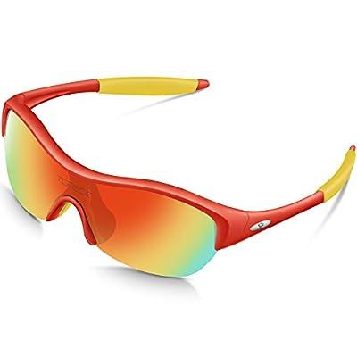 TOREGE Tr90 Flexible Kids Sports Sunglasses Polarized Glasses for Junior Boys Girls Age 3-7 Trk001 (Red Frame&Yellow Tips&Rainbow Lens)