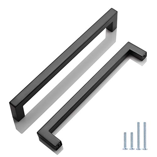 (10 Pack) Probrico Square Bar Cabinet Pulls 7-9/16 inch (192mm) Hole Center Matte Black Drawer Pulls Modern Handles for Kitchen Cabinets Stainless Steel Cupboard Closet Hardware