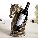 CAPOOK Pilero Cabeza Cabeza Vino Titular de Botella de Vino Resina Ornamental Escultura Original Escultura Vino Barware Decoración Artesanía Accesorios Suministros Estante de Vidrio (Color : Copper)
