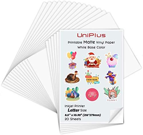 UniPlus A4 Imprimible Pegatinas de Vinilo Autoadhesivo Mate / Papel de Impresión para Impresoras de Inyección de Tinta, Resistente al Agua, 20 Hojas, 210*297mm, - Bricolaje etiquetas de productos