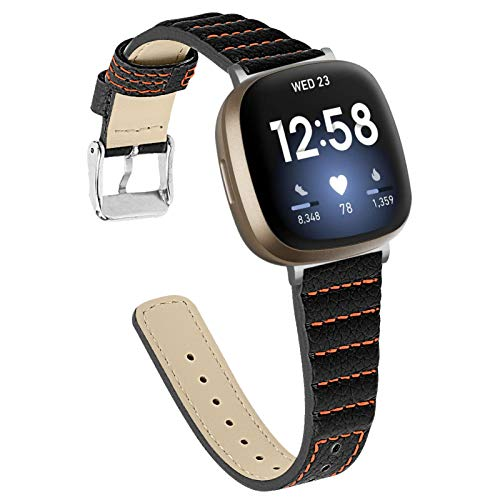 BFISOD Metallbänder für Fitbit Versa 3, Echtes Leder Frauen Männer Schlankes Armband Ersatz Fitness Band Damen Herren Armband für Fitbit Versa 3 / Fitbit Sense (Schwarz)
