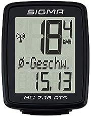 Sigma Sport BC 7.16 ATS Fietscomputer, 7 functies, groot display, draadloze fietscomputer waterdicht, zwart