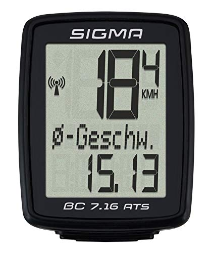 SIGMA SPORT Fahrrad Computer BC 7.16 ATS, 7 Funktionen, großes Display, kabelloser Fahrradtacho, wasserdicht, schwarz