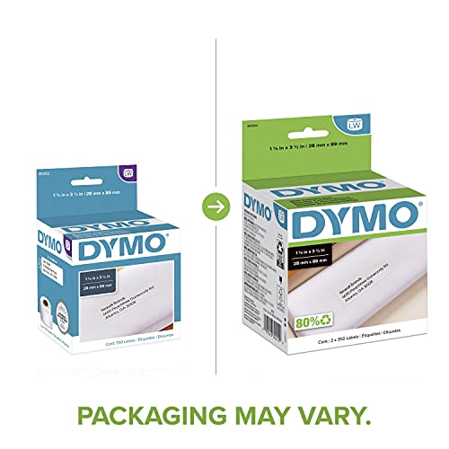 DYMO 30252 LW Mailing Address Labels for LabelWriter Label Printers, White, 1-1/8'' x 3-1/2'',2 rolls of 350