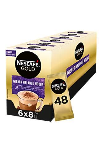 Nescafé Gold Wiener Melange Mocha oploskoffie – 6 doosjes à 8 zakjes