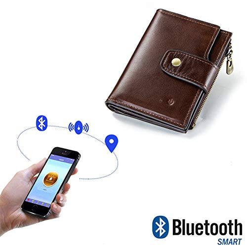 WANGOFUN Anti Lost Wallet, Tracking Wallet Genuine Leather Anti-Theft Wallet Smart Men Card Holder with Alarm Bluetooth Photographing, Gift for Men,Brown