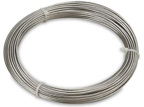 Windhager Edelstahlseil zur Montage und Spannen von Seilspannmarkisen und Sonnensegeln, 14m x 2mm, 10822, silber