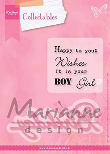Marianne Design Collectables Geburtstag - Stempel und Stanzschablone für die Kartengestaltung und Scrapbooking, Metal, pink, 12.2 x 5 x 0.4 cm