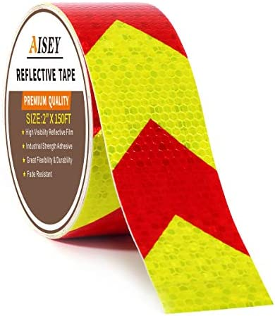 2 X 150FT Reflective Tape Waterproof High Visibility Red Yellow Hazard Caution Warning Adhesive product image