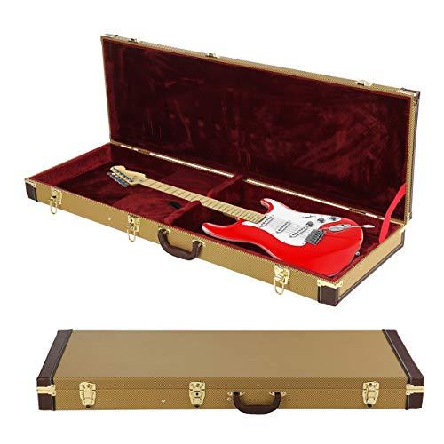 MultiWare Étui de Protection Pour Guitare Électrique Verrouillable en Tweed Doré,Etui Guitare,Étui Étanche Pour Guitare