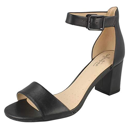 Clarks Deva Mae, Scarpe con cinturino alla caviglia Donna, Nero (Black Leather -), 39 EU