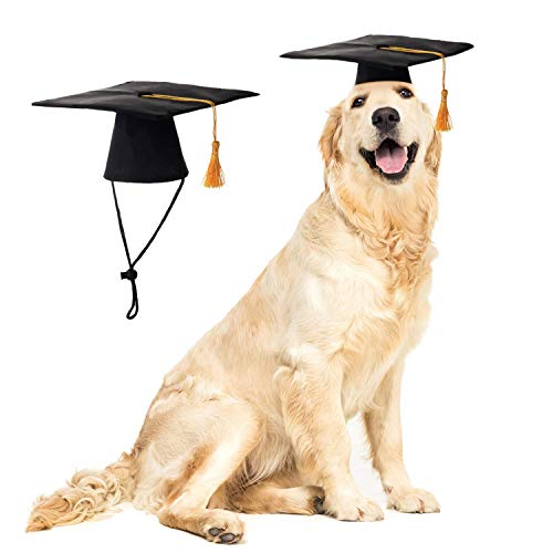 LKEX Pet Graduation Caps Small Dog Graduation Hats with Yellow Tassel Costume for Dogs Cats Holiday...