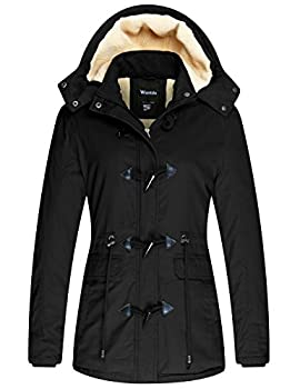Wantdo Women s Warm Thickened Parka Jacket with Removable Hood Black L