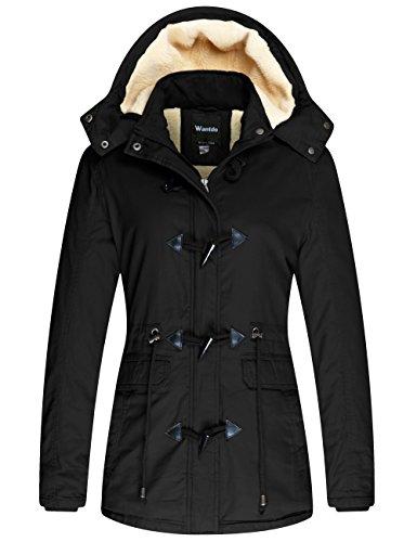 Wantdo Damski wiatroszczelny, ciepły płaszcz zimowy, luźny płaszcz polarowy, klasyczny bawełniany kaptur, kurtka Slim Fit, czarny, L