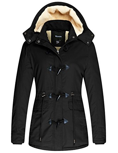 Wantdo Women's Warm Thickened Parka Jacket with Removable Hood Black, S
