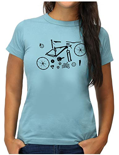 OM3® Mountain-Bike-Parts T-Shirt | Damen | MTB Bicycle Fahrrad Radsport Radfahrer | XXL, Hellblau