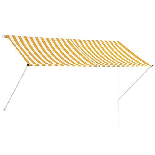 Festnight- Einziehbare Markise | Klemmmarkise | Balkonmarkise | Sonnenschutz Spannmarkise | Terrasse Markise | Creme/Anthrazit/Gelb und Weiß/Blau und Weiß 400/350/300/250/200 x 150 cm