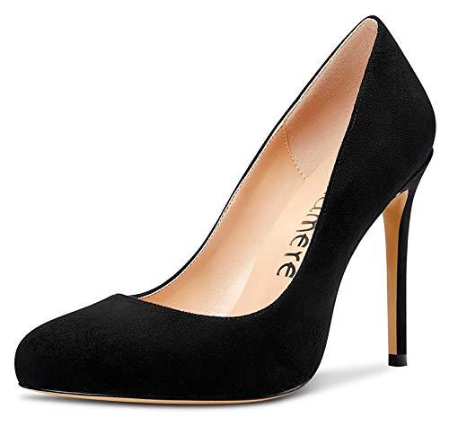CASTAMERE Zapatos de Tacón Mujer Moda Punta Redonda Tacón de Aguja 10CM High Heels Negro Ante Zapatos EU 45