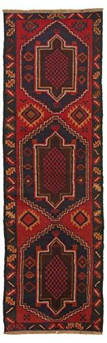eCarpet Gallery Runner Rug for Hallway, Entrance, Kitchen | Hand-Knotted Wool Runner Rug | Baluch Bordered Red Rug 2