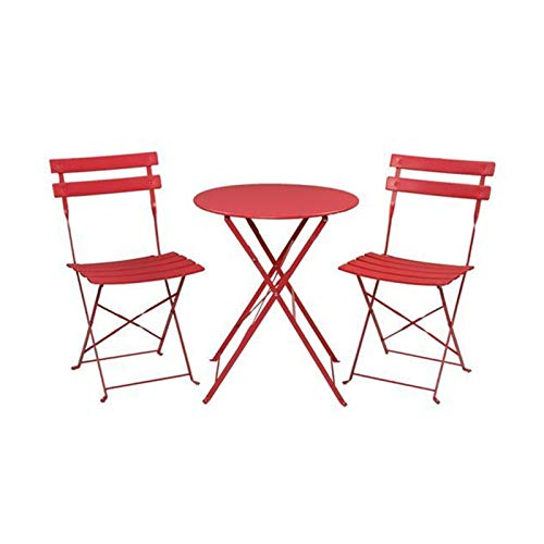 PHH Color Outdoor Pieghevole Sedia per Il Tempo Libero Mobili Pieghevole Pieghevole Pieghevole Pieghevole Set a Tre Pezzi 2 Sedie 1 Set da Giardino da Tavolo (Color : Red)