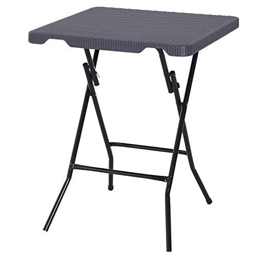 Outsunny Falttisch Klapptisch Gartentisch klappbar Beistelltisch Balkontisch Picknicktisch Campingtisch Kunststoff + Metall Dunkelbraun 60 x 60 x 74 cm