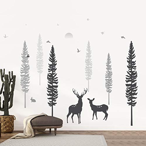 Timber Artbox Nursery Wall Decal - Dreamy Forest with Pine Tree, Animals & Deer - DIY Impressive Children Room