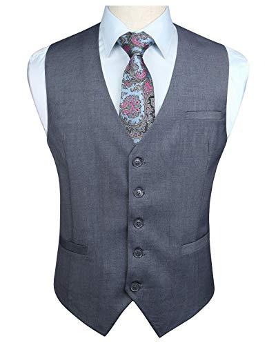 Enlision - Chaleco de algodón para hombre, color liso, estilo formal, para fiesta o boda Gris-1 75