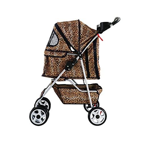 TETHYSUN Passeggino per cani di taglia media, passeggino per cani, passeggino per cuccioli, anziani o gatti, con comodo cuscino e grande cestino, facile da ripiegare