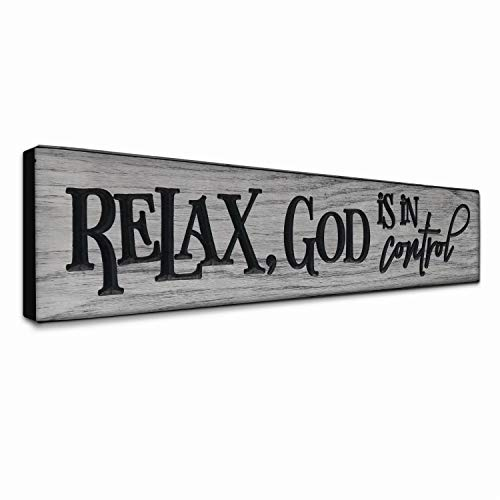 LACOFFIO Inspirational Quotes Wall Art 24x5.5 Relax, God is in Control Rustic Christian Faith Wall Decor for Kitchen - Grey Scripture Wooden Signs