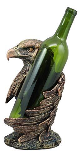 Ebros Large Patriotic Bald Eagle Wine Bottle Holder Figurine in Faux Bronze Finish 10' High