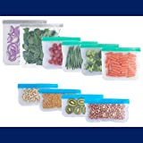 WE DONATE $1 PER ORDER TO OCEAN CLEAN-UP   Reusable Storage Bags   2 Gallon Bags   4 Sandwich Bags   4 Snack Bags   Kitchen Reusable Bags   Leak Proof   BPA Free…