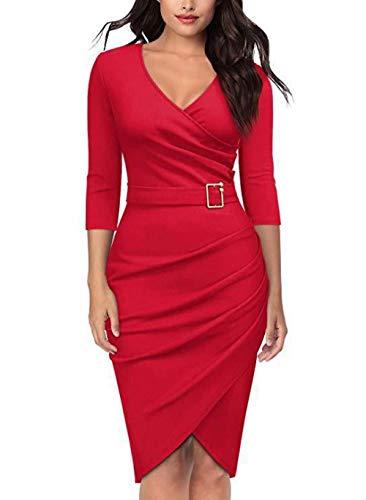 NKSS Vestido De Fiesta De Cena De Oficina Mujer-Vino Tinto_SG