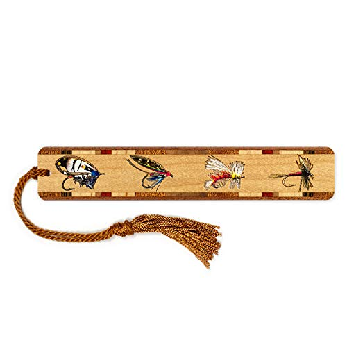Fly Fishing Lures, Engraved and Colorized Wooden Bookmark with Tassel - Search B07QY5DG8F for Personalized Version