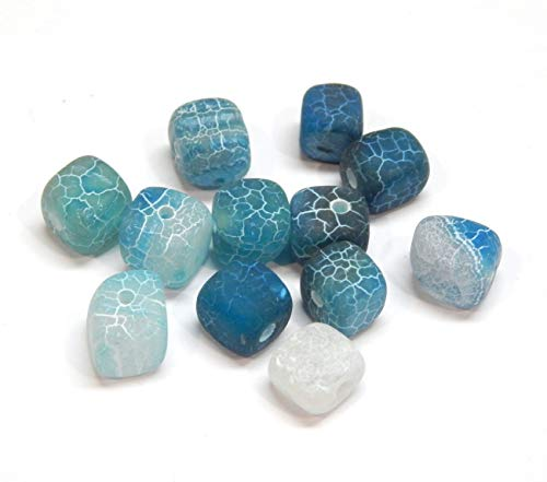 Cuentas de ágata en forma de cubo, piedra preciosa, 7 ~ 8 mm, 12 piezas (azul)