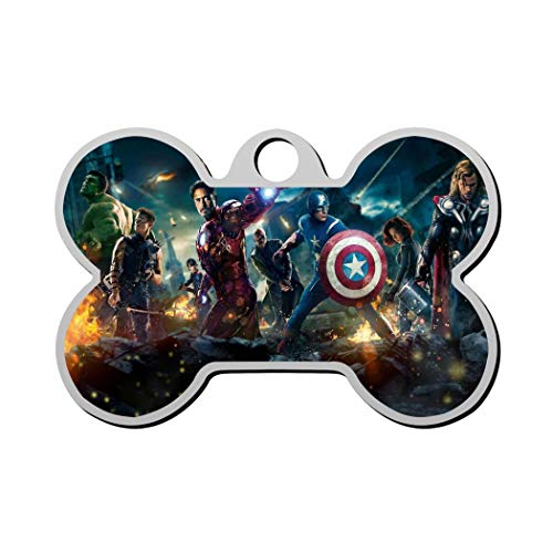 GPZHM The Avengers Pet Tag - Bone Shaped Dog Tag & Cat Tags Pet ID Tag Personalized Custom Your Pet's Name & Number 3D Printing